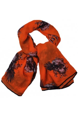 Orange with Big Exotic Skull Print Scarf